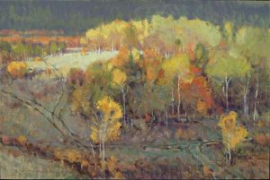 jim morgan if you come to a fork in the road take it trees autumn colors landscape oil painting