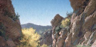 Matt Smith palo verde in bloom western landscape wash oil painting