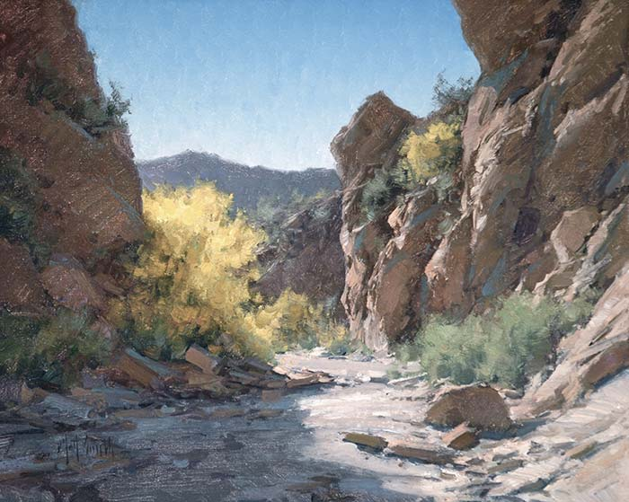 Matt Smith palo verde in bloom western landscape wash oil painting