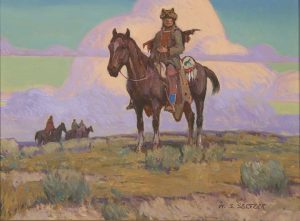 steve seltzer the vantage point native american indian on horse horseback western oil painting