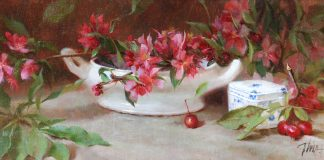timothy thies apple blossoms stillife oil painting