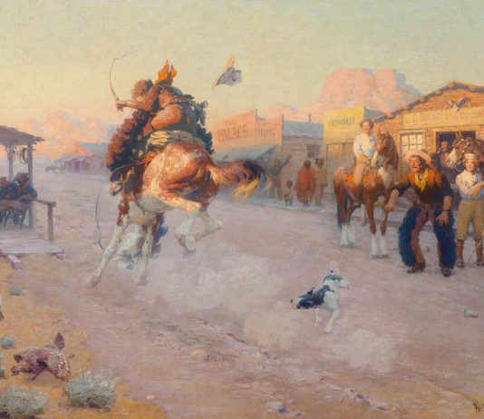 william r. leigh cowboy bucking horse action western cow town action western oil painting