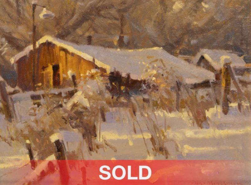 "Jim Morgan ""Hazel's Backyard"" snow farm ranch oil painting sold"