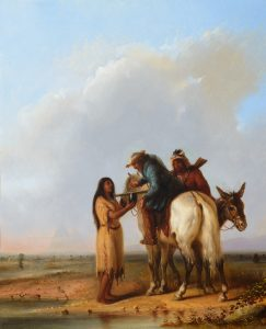 alfred jacob miller trapper native american indian woman horses western oil painting