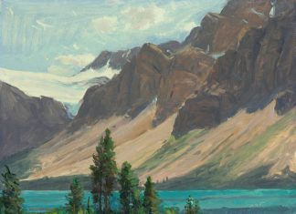 Curt Walters Bow Lake mountains trees America impressionistic landscape oil painting