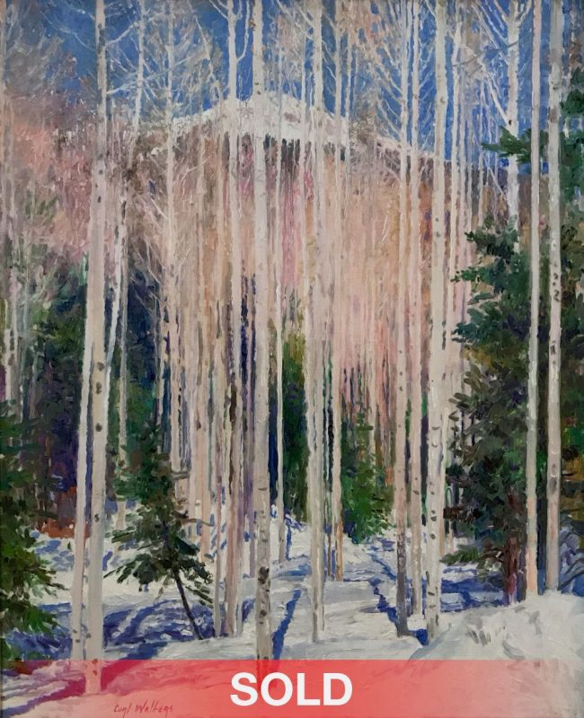 curt walters enticement birch aspen trees forest snow capped mountain snowy landscape oil painting