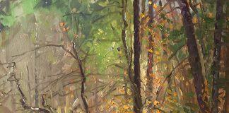 Curt Walters Golden Reflections stream creek Oak Creek Canyon Sedona, Arizona landscape oil painting