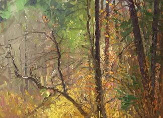 Curt Walters Golden Reflections stream creek Oak Creek Canyon Sedona, Arizona landscape oil painting