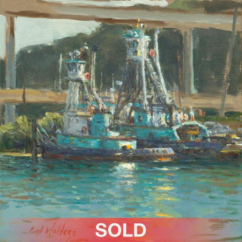 Curt Walters Island Chief Seattle Washington boat fishing pier ocean lake seascape impressionistic oil painting SOLD