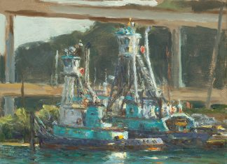 Curt Walters Island Chief Seattle Washington boat fishing pier ocean lake seascape impressionistic oil painting