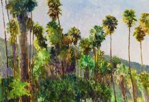 Curt Walters Presidio Spring palm trees California landscape impressionistic oil painting