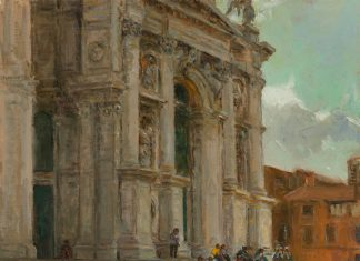Curt Walters Steps of La Salute Venice Italy architectural church oil painting