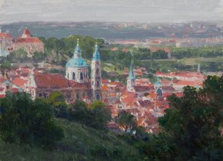 Curt Walters View Of Little Quarter Church of St. Nicholas Prague architectural city Europe impressionistic oil painting