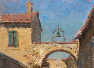 Daniel Gerhartz Gadagne Courtyard architecture oil painting France Europe
