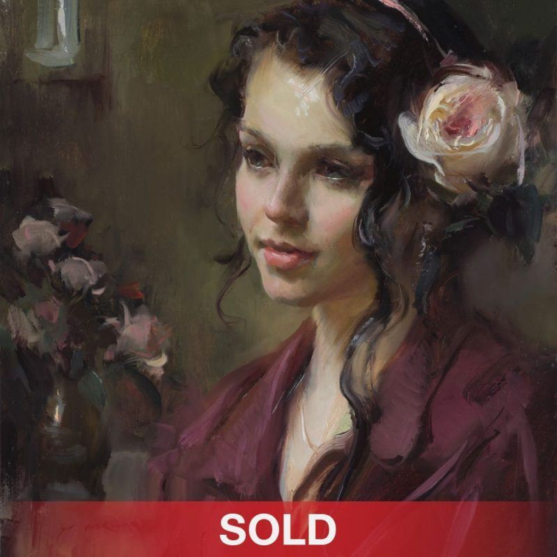 daniel gerhartz english rose female figure figurative portrait oil painting flowers rose sold