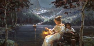 Daniel Gerhartz Till You Come To Me lake snowy mountains boat figurative oil painting