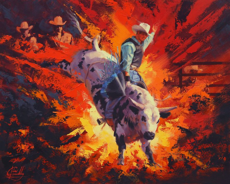 Jim Connelly Bullistic bull rider rodeo cowboy action western oil painting