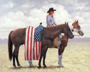 jim connelly colors of freedom honor cowgirl on horse american flag landscape western oil painting equine