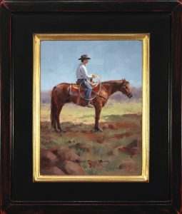 jim connelly made in the shade cowboy horse landscape western oil painting framed