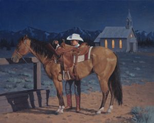 jim connelly colors of freedom reverence cowboy horse night equine western oil painting