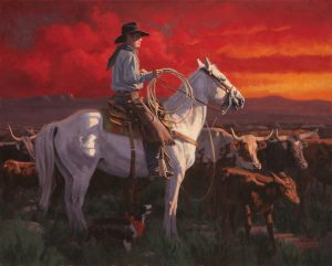 Jim Connelly Colors Of Freedom cowboy white horse landscape cattle working cowboy western oil painting patriotic