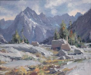 matt smith sabrina basin mountain clouds high mountain western oil painting