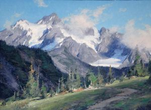 matt smith light play over shuksan snow cover peak majestic mountain landscape oil painting