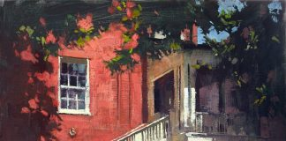 patrick saunders a window onto bentley's backyard house dog stairway impressionistic oil painting