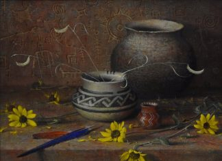 robert peters autumn of the ancients native american still life oil painting relics artifacts