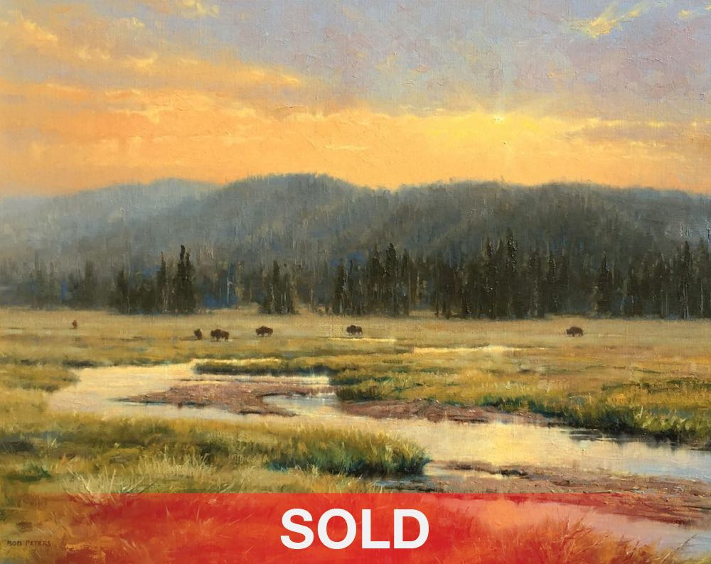 Robert Peters Calm Was The Day Wyoming Snake River buffalo bison wildlife landscape oil painting