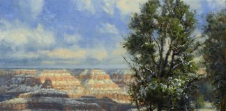 Robert Bob Peters Rim Trail In Winter Grand Canyon snow trees clouds western landscape oil painting