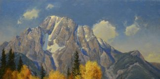 robert peters wyoming autumn tetons landscape horse equine horses fall oil painting