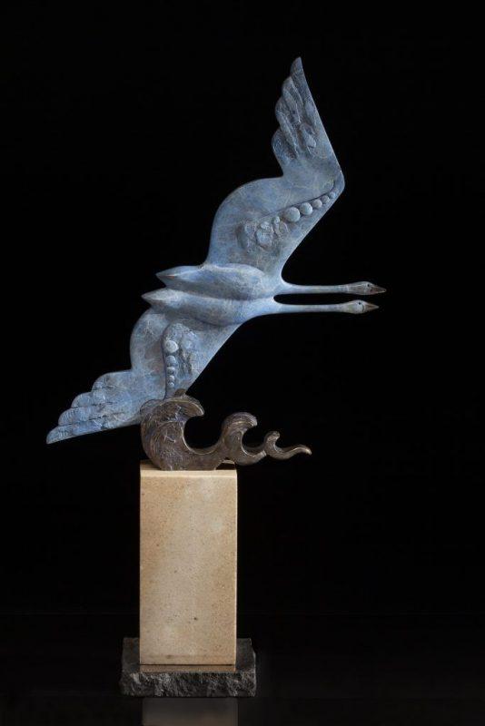 Tim Cherry Against The Wind Swan flight flying contemporary wildlife bronze sculpture
