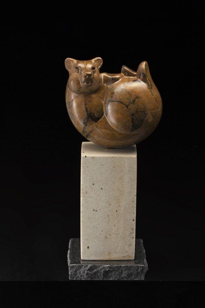 Tim Cherry Bear Ball contemporary wildlife bronze sculpture