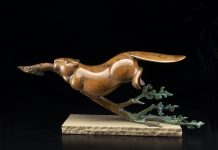 Tim Cherry Beaver Retriever wildlife bronze sculpture