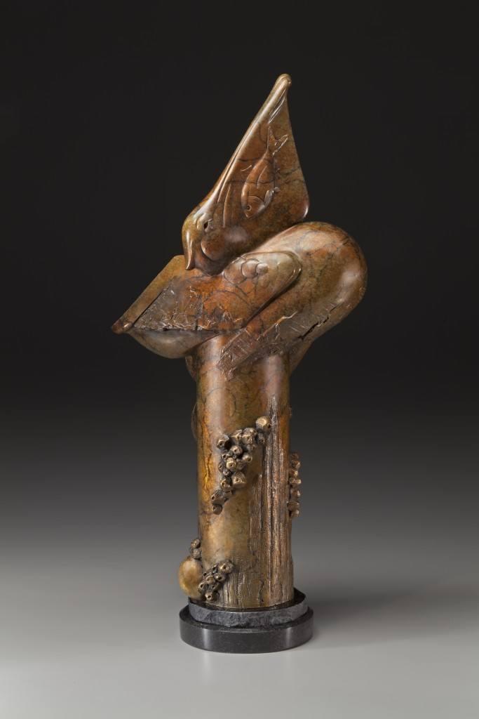 tim cherry big gulp pelican eating fish wildlife bronze sculpture