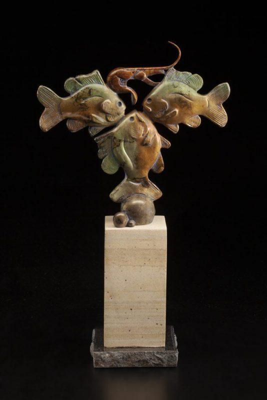 Tim Cherry Crawfish Conundrum sun fish crawdad contemporary wildlife bronze sculpture