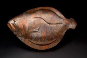 tim cherry flat fish flounder wildlife bronze sculpture