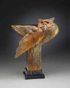 tim cherry forest ghost owl bronze wildlife sculpture