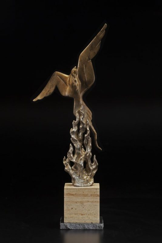 Tim Cherry From The Flames Phoenix bird rising from flame fire contemporary wildlife bronze sculpture