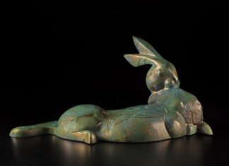 Tim Cherry Garden's Edge rabbit contemporary wildlife bronze sculpture