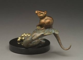 tim cherry harvest mouse wildlife bronze sculpture