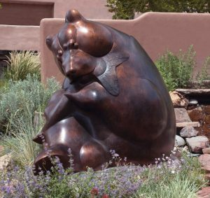 tim cherry heads or tails grizzly bear fish bronze wildlife sculpture
