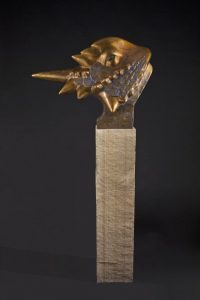 tim cherry horned frog large horned lizard bronze wildlife sculpture