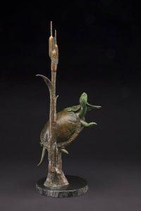 tim cherry lilly pad peeker turtle bronze wildlife sculpture