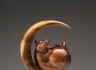 """Tim Cherry """"Luna Bear"""" bronze wildlife sculpture"""