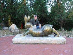 tim cherry rabbit reach bronze wildlife sculpture