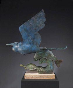 tim cherry river mates bird heron fish tortoise turtle bronze wildlife sculpture