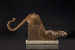 tim cherry silent shadow mountain lion bronze wildlife sculpture