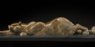 tim cherry snake in the grass mountain lion cat bronze wildlife sculpture